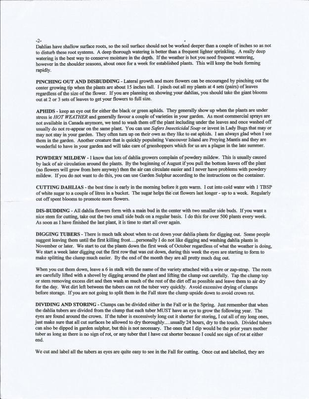 Connies Dahlia info sheet, View Royal Garden Club, Victoria BC